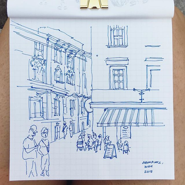 Judenplatz, Wien 🇦🇹 . Took a break from cheeky people due to some essay deadlines - now on holiday in the continent and back to sketching ✨ . . . . . . . . . #cheekypeople #architecture #vienna #steeetscape #urbansketcher #usk #sketching #drawing #scene #lifedrawing #people #sketchbook #pendrawing #grid #travelsketch #travelgram #london #artistoninstagram #illustration #hkig #instadaily