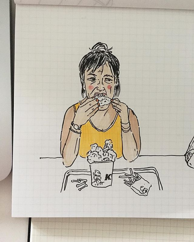 ¼ life crisis - fried chicken fury 🍗🍗🍗 . . . . . . . . . #cheekypeople #usk #illustrationartists #urbansketchers #sketchbook #illustrator #artistoninstagram #illustration #sketch #instasketch #instaartist #travelart #london #quicksketch #quickstudy #peoplestudy #peopledrawing #marker #dessin #繪圖 #hongkongartist #hongkongart #hkig #ukig #process #hkartist #illustrationoftheday #sundayvibes #friedchicken #illustrationnow