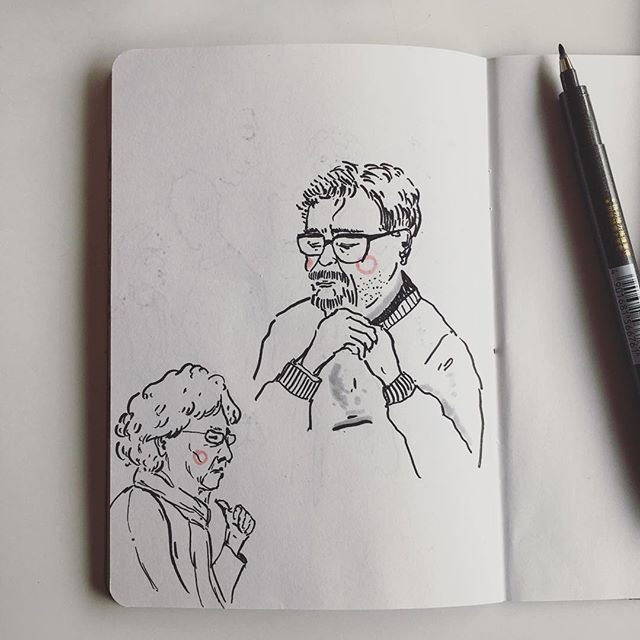 Old couple at the National Theatre. . . . . . . . .  #cheekypeople #art #drawingpeople #illustrator #quickstudy #quicksketch #sketchbook #sketchbookproject #usk #urbansketchers #portrait #artistsoninstagram #sketch_dailydose #art_empire #hkig #hongkongartist #kunst #wip #workinprogress #sbpprocess #brushpen #tombow #lifesketch #art_overnight #lifedrawing