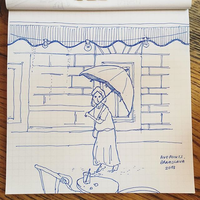 Rain rain go away, come again another day ☔️💦 . . . . . . . #cheekypeople #architecture #bratislava #slovakia #cafe #fivepoints #lifedrawing #travelgram #illustration #artistoninstagram #instadaily #drawing #sketchbook #usk #urbansketchers #hkig