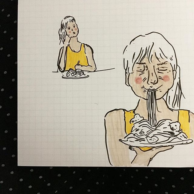 🍝🍝🍝 slurp. . . . . . . . #cheekypeople #usk #illustrationartists #comicartist #comic #sketchbook #illustrator #artistoninstagram #illustration #sketch #instasketch #instaartist #travelart #london #quicksketch #quickstudy #peoplestudy #sequential #marker #dessin #繪圖 #hongkongartist #hongkongart #hkig #ukig #process #hkartist #illustrationoftheday